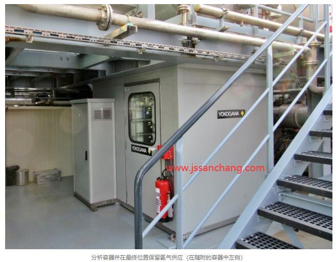 分析容器并在非常终位置保留氢气供应(在随附的容器中左侧)