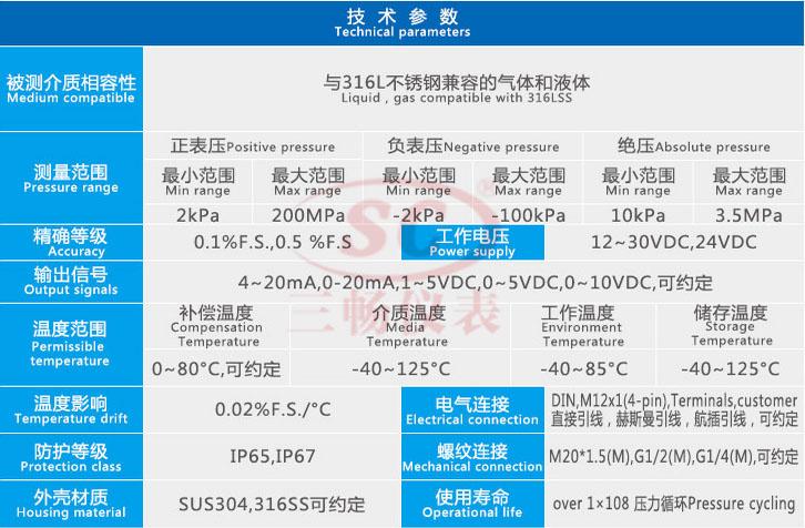 WP435A压力变送器技术参数