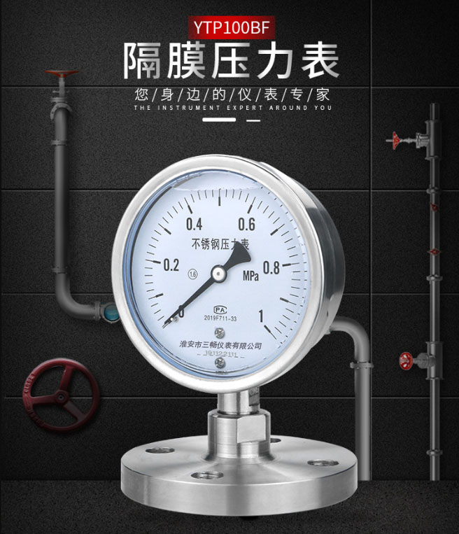 不锈钢隔膜耐震压力表(耐腐蚀)